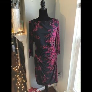 NWT Lauren by RL ruched, fitted floral dress